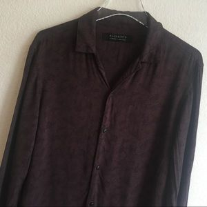 All Saints | Purple and Black Button Down Shirt XS